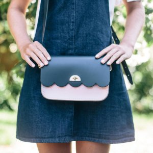 Navy and Dusky Rose Small Cloud Bag | The Cambridge Satchel Company
