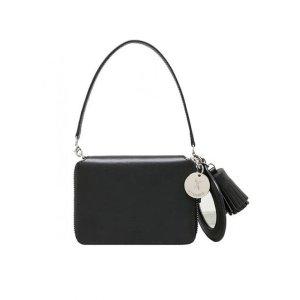 Joseph & Stacey OZ Round Zip Card Wallet Mirror Charm Modern Black