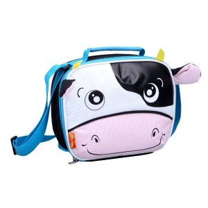 Yodo Adorable Insulated Daycare Snack Bag with Pouch for Cutlery inside for Toddler's Drink Sandwich or Mini Lunch Box, Cow