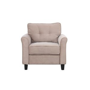 Classic Ultra Comfortable Linen Fabric Living Room Accent Chair - Haze - Sofamania