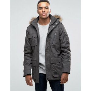 Threadbare   Threadbare Parka Jacket with Faux Fur Hood