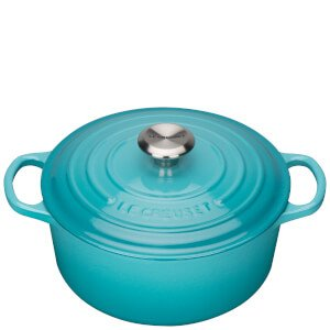 Le Creuset Signature Cast Iron Round Casserole Dish - 24cm - Teal Homeware   TheHut.com