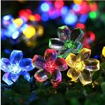 Qedertek Cherry Blossom Solar String Lights, 23ft 50 LED Waterproof Outdoor Decoration Lighting