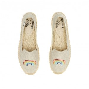 Soludos ASHKAHN X Rainbow Embroidered Platform Smoking Slipper in Sand - Soludos Espadrilles