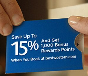 Up to 15% Off & 1,000 Points Best Western Rewards Offer