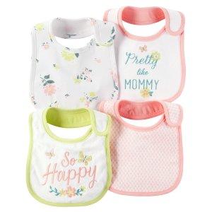 Baby Girl 4-Pack Teething Bibs | Carters.com