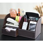 Leather Desk Organizer,Oak Leaf 6 Compartment Office School Supply Desktop Organizer Storage Box with Drawer