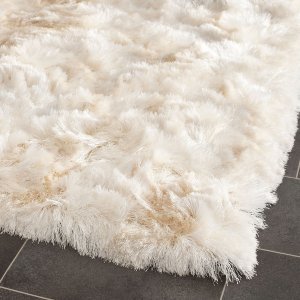 Safavieh Handmade Silken Paris Shag Ivory Polyester Rug (2' x 3') - 14986810 - Overstock.com Shopping - Great Deals on Safavieh Accent Rugs