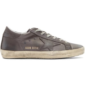Golden Goose: Grey Satin Superstar Sneakers