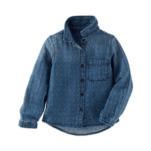 Kid Girl Dotted Denim Button-Front Top   OshKosh.com