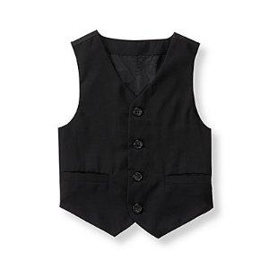 Baby Boy Black Wool Suit Vest at JanieandJack