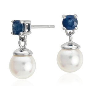 Akoya Cultured Pearl and Sapphire Drop Earrings in 18k White Gold (3.5mm) | Blue Nile
