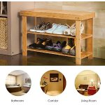 Homfa 100% Natural Bamboo Shoe Bench 2 Tier Wooden Shoe Rack Organizer Entryway Shoe Storage (Q12-4)