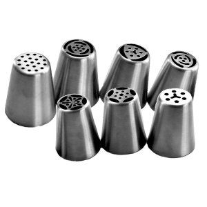 TANGCHU Russian Piping Tips 7PCS/SET Stainless Steel Large Size Icing Syringe Set DIY Nozzle
