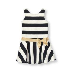 Baby Girl Black Stripe Striped Ponte Dress at JanieandJack