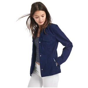 Embroidered-trim utility jacket