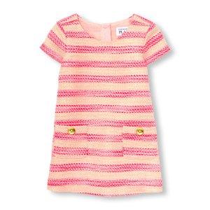 Toddler Girls Cap Sleeve Metallic Neon Tweed Shift Dress   The Children's Place