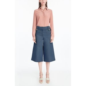 Light Indigo - Denim Culotte w/ Snap Pocket