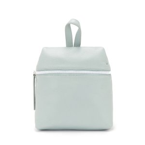 SAGE LEATHER SMALL BACKPACK W/ WHITE ZIPPER | KARA BAG