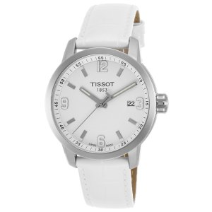 Tissot Men's PRC 200 White Genuine Leather and Dial SS | World of Watches