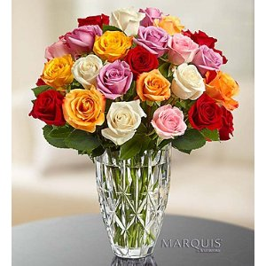 Marquis by Waterford® Vase + 24 Free Roses | 1800Flowers.com-107043