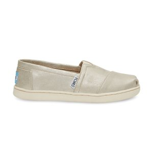 White Gold Metallic Synthetic Leather Youth Classics | TOMS