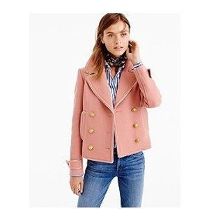 SHORT DOUBLE-BREASTED COAT IN DOUBLE-CLOTH WOOL