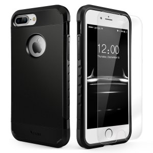 iPhone 7 and 7 Plus dual layer case w/tempered glass screen protectors