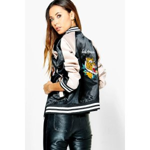 Lily Embroidered Oriental Satin Bomber | Boohoo