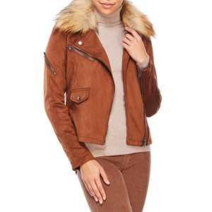 Faux Suede Biker Jacket with Removable Faux Fur Trim