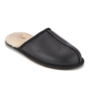 UGG Men's Scuff Leather Sheepskin Slippers - Black - FREE UK Delivery
