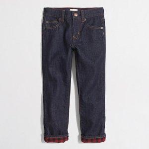Boys' flannel-lined jeans : Denim | J.Crew Factory