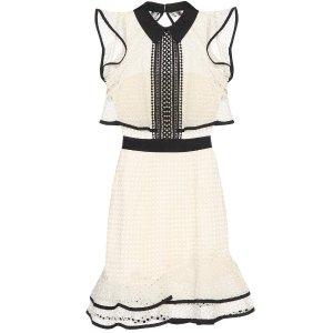 SELF-PORTRAIT Contrast Flounced lace mini dress