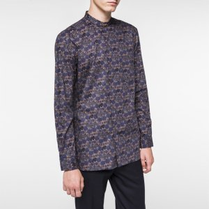 Paul Smith Men's Navy and Brown 'Muted Floral' Print Band-Collar Shirt