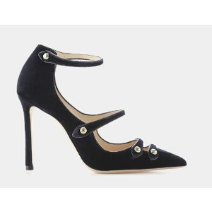 Jimmy Choo Lacey 100 Velvet and Leather Point-Toe Pump Pumps