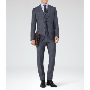 Monroe Blue Checked Wool Suit - REISS