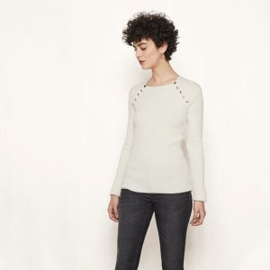 MAFIA Rib-knit jumper with gold-finish buttons - Sweaters - Maje.com