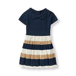 Baby Girl Navy Stripe Striped Sweater Dress at JanieandJack