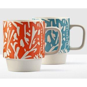 Floral Handle Mugs - Set of 2