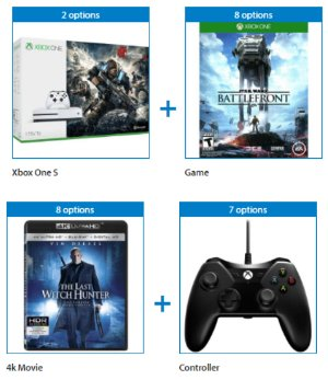 as low as $299 Xbox One S 1TB with Your Choice of Bonus Game, 4k UltraHD Movie, and Controller