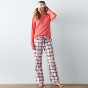 Women's SONOMA Goods for Life™ Pajamas: 3-Piece Thermal Flannel Pajama Set