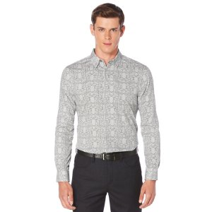 Linear Geo Print Shirt | Perry Ellis