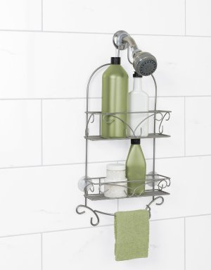 Zenna Over-the-Showerhead Shower Caddy, Satin Nickel