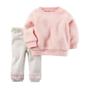 Baby Girl 2-Piece Sherpa Top & Sweater Pant Set   Carters.com
