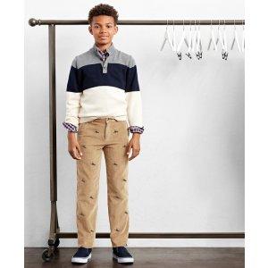 Boys' Navy, Grey, & White Color-Block Mockneck Sweater | Brooks Brothers