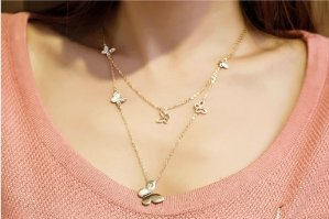 $22.99 Yellow Gold Plated Double Strands Butterfly Necklace For Women Girl -NGG179