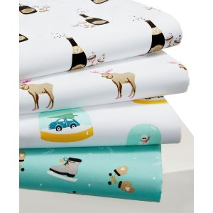 CLOSEOUT! Whim by Martha Stewart Collection Cotton Percale Holiday Sheet Sets - Sheets - Bed & Bath - Macy's