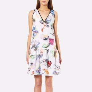 KENZO Women's Visage Silk Crepe De Chine Dress - White - Free UK Delivery over £50