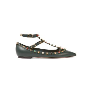 Rockstud embellished leather point-toe flats | Valentino