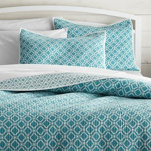 Raj Reversible Bright Blue Quilts and Pillow Shams   Crate and Barrel